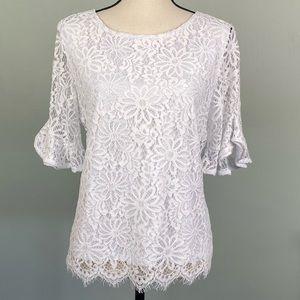 EUC-NANETTE LEPORE white floral lace blouse.